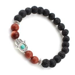 Wholesale Luck Stones Wholesale - Lava Stone Reiki Healing Balancing Round Beads Good Luck Bracelet 2 Styles Power Energy Hamsa Hand Natural Lava Stone Bracelets B351S