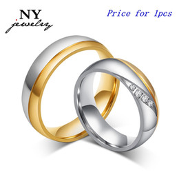 Wholesale Jewerly Stainless Steel For Man - High quality couple rings for women men zirconia wedding ring 18k gold plated stainless steel jewerly