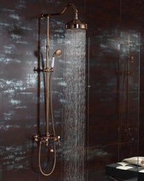 Wholesale Rainfall Showers - Free shipping rose gold clour Rainfall shower faucet mixer tap wall mounted with handshower