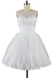 Wholesale Sexy Mini Beach Wedding Dress - 2015 New Scoop A Line Short Wedding Dress Pearls Tulle Sleeveless Lace Little White Dress Bridal Gown In Stock Size 2 4 6 8 10 12 14 16