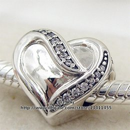 Wholesale Sterling Silver Ribbon Necklaces - New 2016 Valentine Day 925 Sterling Silver Ribbon of Love Charm Bead with Clear Cz Fits European Pandora Jewelry Bracelets & Necklace