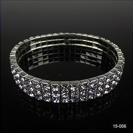 Wholesale cheap romantic dresses - Hot Sale Cute 3 Row Rhinestone Stretch Bangle Wedding Bracelets Bridal Jewelry Free Ship Cheap Bracelet for Bride Party Evening Prom Dress