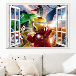 Wholesale Iron Man Decal - Cartoon Le go Iron Man Hulk Wall Sticker Mural 3D Window Decal Boys Room Decorations free shipping
