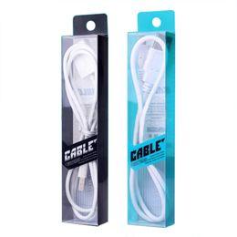 pvc кабель розничной коробке Скидка Оптовая 100 шт./лот блистер ясно ПВХ розничная упаковка сумка / пакеты коробка для 1 метр кабель для зарядки USB кабель, 4 цвета