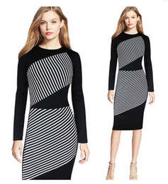 Wholesale Winter Work Dresses For Women - Trendy Skirt for OL one piece pencil skirt contrast color striped bodycon round neck long sleeve knee length Autumn Winter