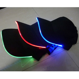 Wholesale Red Hat Fabric Wholesale - LED Lighted Glow Club Party Baseball Hip-Hop Adjustable Black Fabric Hat Cap