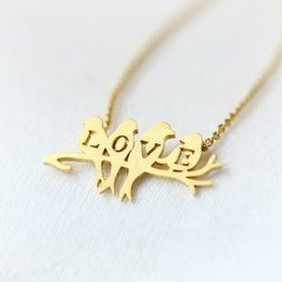 Wholesale Gold Bird Branch Necklace - Free shipping 10pcs lot,Gold silver birds on branch with LOVE letters pendant necklace, tiny birds on branch necklace XL129