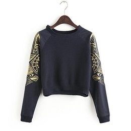 Wholesale Baseball Crop Top - 2016 NEW Spring Fashion Crop Top Blouses Women Embroidery Sleeve Short Design Knitted Sweatshirts Pullover Sweater Baseball Uniform WI96