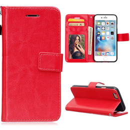 Wholesale Double Fold Wallet - High Quality Double Folds Crazy Horse Flip Leather Wallet Case With Strap Holder Cover for iphone6 4.7 5.5 inch plus