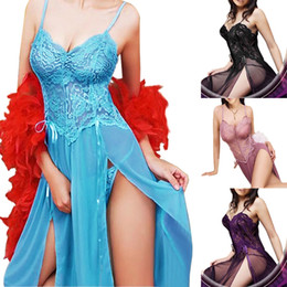 Wholesale Sexy Purple Nightgown Long - Purple Blue Violet Black Plus Size S-6XL Sexy Lingerie Nightgown Gown Long Babydoll Sleepwear
