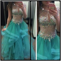 Wholesale Turquoise Evening Short Gowns - 2016 Sexy Illusion Bodice Crystals Beaded Prom Dresses Unique Jewel Neck Cap Sleeve Turquoise Tulle Skirt Wedding Evening Gowns