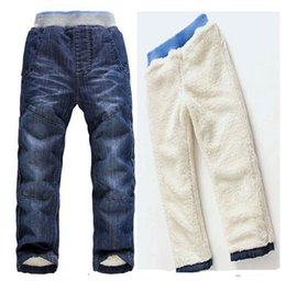 Wholesale Warm Boys Jeans - Retail children jeans 2015 new winter kids clothes girls thick warm trousers boys denim pants toddler clothing for 3-7Y 201508HX