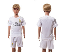 Wholesale Cheap Athletic Shorts - 15-16 Real Madrid Home White Kids Soccer Sets Cheap Youth Soccer Jerseys Discount Cheap Soccer Wear High Quality Athletic Uniform for Sale