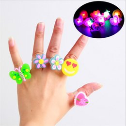 Wholesale April Finger - Birthday Party LED Glowing finger Send Kids Toy Led Night Light Birthday Decoration Finger Ring Cartoon Animal Glow In The Dark Toys WJ5374