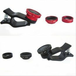 Wholesale Len Clip Eye - 3 In 1 Universal Clip camera Mobile Phone Len Fish Eye + Macro + Wide Angle for iphone 6 5 4 Samsung S4 S5 note2 Fisheye