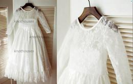 Девушки платья для подружки невесты онлайн-Винтажный стиль с длинными рукавами кружева цветок девушка платье младший платье невесты дети дети платье для свадьбы