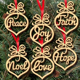 Wholesale Wood Tree - 6 pcs lot Christmas Tree Ornament Letter wood Heart Bubble Pattern Xmas Tree Hanging Ornaments Decor Christmas Decorations