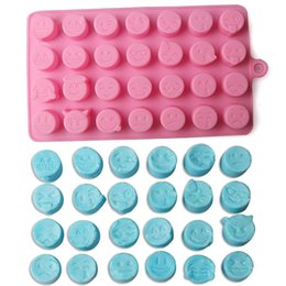 Wholesale Candy Funny - 28 Grid Funny Emoji Expression Mold Cute Silicone Cake Molds For Cake Chocolates Candy Ice Baking Tools