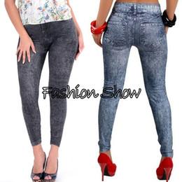 Wholesale Stretch Leggings For Women - New 2014 Autumn Fashion Pants for Women Was Thin Denim Jeans Leggings Nine Plus Size Stretch Pants Feet 2 Colors SV07 SV004648