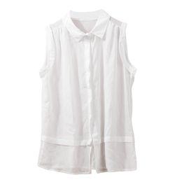 Wholesale White Sheer Button Blouse - Women Tops And Blouses 2015 New Fashion Semi-Sheer Chiffon Blouse Turn-down Collar Button Blouse Sleeveless White Royal Blue