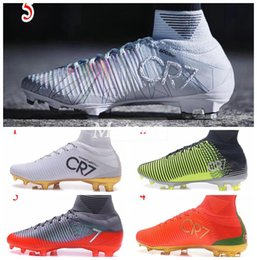 Wholesale Iv Training - 2017 New men Cristiano Ronaldo Mercurial Superfly Iv FG CR7 501 Boot White Golden Soccer Shoes cr7 Chapter 5 mens Training Sneakers Cleats