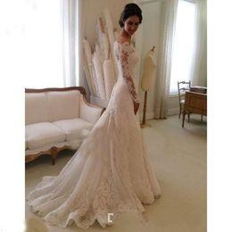 Wholesale Robe Casamento - fashionable Off the Shoulder Long sleeve wedding dress vintage cheap church wedding dresses vestidos de novia robe de mariage casamento 2015