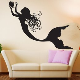 Wholesale Wall Decal Sea - 2016 Under The Sea Mermaid Girl Nursery Room Wall Decal Art Home Decor Wall Stickers Vinyl Wall Poster Mural