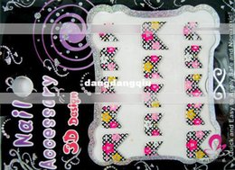 Wholesale Professional Nail Art Decals Wholesale - Wholesale-Free Shipping 3D Nail Art Stickers 50pcs Professional Mixed French Nail Stickers