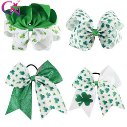 "Wholesale Green Day Hair - 7 Inch and 5 ""Large St.Patrick's Day Hair Bow Glitter Clover For Kid Girl Hair Pins"