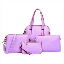 Wholesale European Bun - 2016 new simple and practical set of four female parent shell buns cross pattern PU Fashion Shoulder Bag Handbag Xiekua packag Free shipping