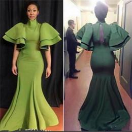 Arabie Saoudite Sirène Col Haut Robes De Soirée 2018 Robe De Noche Elegante Sirène Satin Arabe Robes De Bal Trompette Manches Robe De Fête ? partir de fabricateur