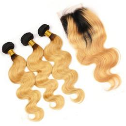 Tejido de fresa online-8A Grade # 1B / 27 Honey Blonde Ombre Hair Bundles con cierre de encaje Dark Roots Strawberry Blonde Body Wave Ombre Hair teje con cierre