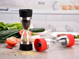 Wholesale Portable Milling - Stainless Steel Manual Salt Pepper Mill Grinder Grind 2 In 1 Ceramic Core Portable Stocked Kitchen Mill Muller Tool Black  Red