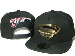 Superman chapéu preto on-line-Homens bonés dos desenhos animados preto superman de metal S snapback chapéus Personagem super man marvel heróis snapbacks tampas bonés de bola ao ar livre DDMY