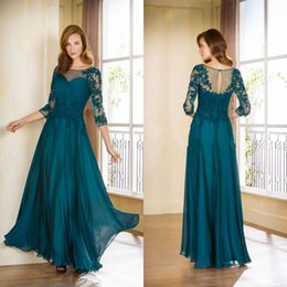 Wholesale Short Jade Dresses - Jade Long Formal Mothers Dresses 2015 Jewel Sheer Appliqued Half Sleeve A line Chiffon Hot Party Evening Gown Custom made