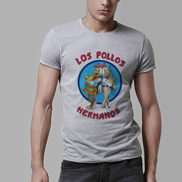 Wholesale Los Pollos Hermanos T Shirt - Wholesale-Los Pollos Hermanos T Shirts Men Chicken Brothers Man T-shirts Sitcoms Short Sleeve O Neck Cotton Shirts Rock Breaking Bad A27