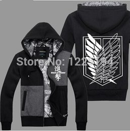 Wholesale Levi Cosplay Costume - Wholesale-Attack On Titan Scout Regiment Levi Cosplay Costume Autum Winter Sport Fashion Hoodies Sweatshirts Coat Anime
