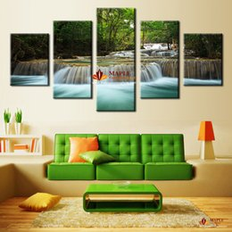 Wholesale Large Paintings For Living Room - Hot Sell modern Wall Decor Painting Waterfall Painting Canvas Wall Pictures For Living Room Canvas Print Painting-Large Canvas Art Cheap