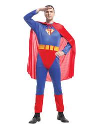 superman cosplay Sconti Adulti Vestiti di Superman Abbigliamento Cosplay Costume Vestiti di scena Performance Set da uomo Tre pezzi GN C018