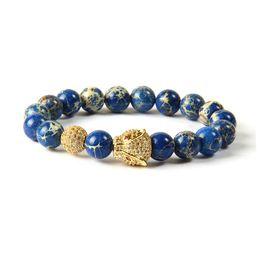 Wholesale Big Stone Beads - Animal Jewelry Wholesale 10pcs lot 10mm Blue Sea Sediment Stone Beads With Micro Pave Cz Big Leopard Bracelets For Men's Gift