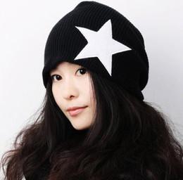 Wholesale Tall Stars - New Hotsale Pentacle Star Warm Skull Beanie Hip Hop Knit Cap Ski Crochet Cuff winter hat for Women Men QY