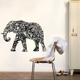 Wholesale Indian Wall Stickers - Indian Elephant Wall Stickers Mandala Pattern Animals Wall Decals Bedroom Wall Decor Art Murals