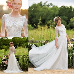 Wholesale Full Tulle Wedding Skirt - BHLDN 2018 Spring Full Lace Wedding Dresses with Half Sleeves A Line Scoop Tulle Floor Length Floral Appliqued Lace beach Bridal Gown BA1642