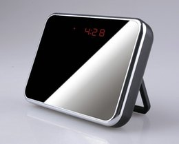 Wholesale Hidden Cameras Mirrors - Digital Mirror Table Alarm Clock Hidden camera with Motion Detection