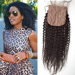 Wholesale Color Hid - Silk Base Closure 4*4inch Free Middle Part 3 Way Part Hidden Knots G-EASY Natural Color Afro Kinky Curly Brazilian Virgin Human Hair