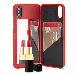 Wholesale Hard Plastic Id Case - Luxury Lady Girl Makeup Mirror Flip Wallet Case MultiFunction ID Card Slot Holder hard PC Cases Cover for iphone X 8 7 6 6S plus