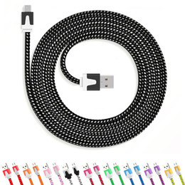 tissu usiné Promotion 1 M 3FT 2 M 6FT 3 M 10FT Nouilles Plat Tresse Cordon De Recharge couleur Sync Tissu Micro Fil USB Données Câble Tissé
