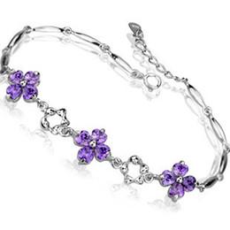 Wholesale Amethyst Fine Jewelry - 2014 New 100% Sterling Silver 925 Jewelry Clover Amethyst Bracelet Fine Jewelry Bracelets & Bangles Free Shipping