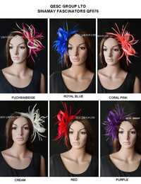 Wholesale Wholesale Feather Fascinators - NEW ARRIVAL Small Sinamay feather Fascinators for kentucky derby,melbourne cup,wedding.races,church,free shipping