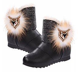 Wholesale Head Snow - 2014 winter New fashion fox head women's boots snow boots warm